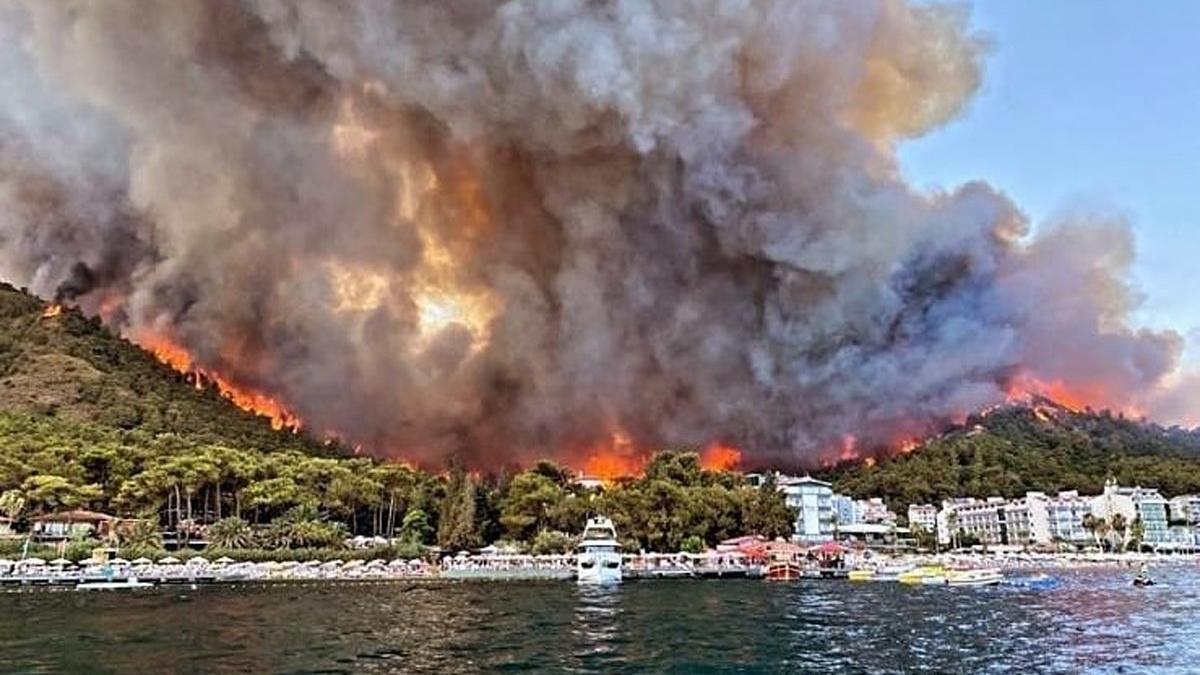Bir orman yangını da Marmaris'te