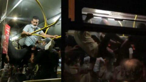Otobüsün içinde akılalmaz kavga