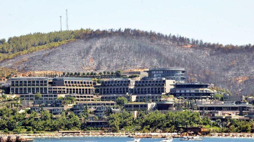 Bodrum'da dikkat çeken yangın manzarası