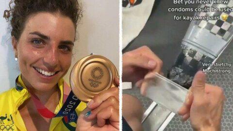 Tokyo 2020 | Hasar alan kanosunu prezervatif ile onarıp altın madalya kazandı