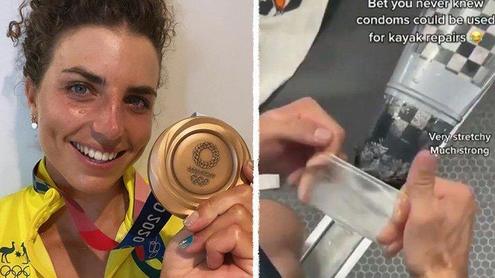 Tokyo 2020   Hasar alan kanosunu prezervatif ile onarıp altın madalya kazandı