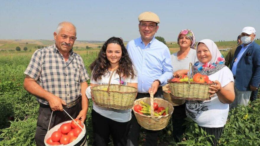 İmamoğlu ilk hasadı çiftçilerle birlikte yaptı, Kanal İstanbul mesajı verdi