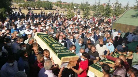 Konya'da katledilen 7 kişi son yolculuğuna uğurlandı