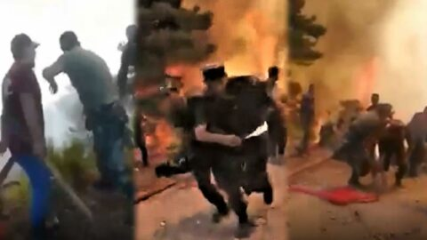 Marmaris'teki yangında dehşet anları! Azeri ekipler alevlerden zor kurtuldu