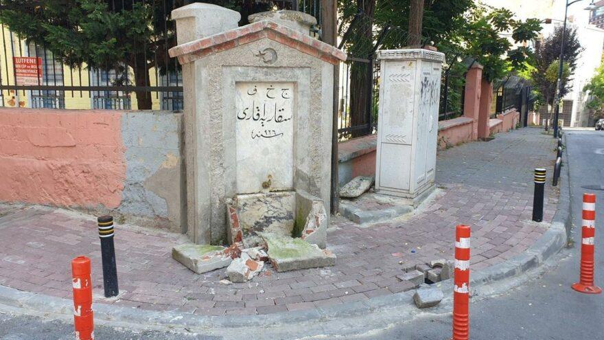 İBB tarafından restore edilen tarihi çeşmeye saldırı