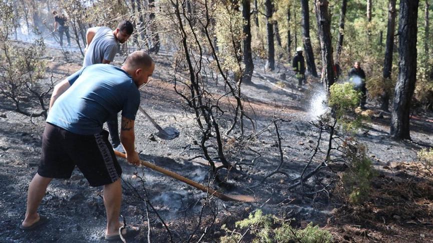 Denizli'de vatandaşların da seferber olduğu orman yangını kısa sürede söndürüldü