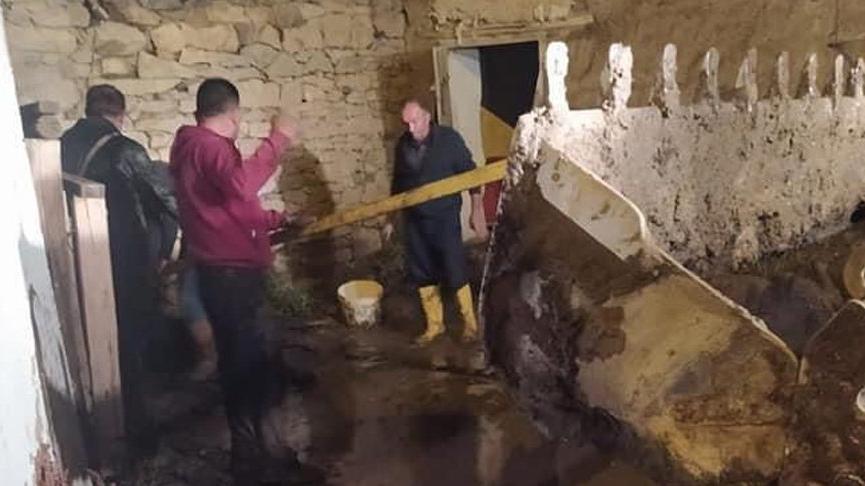 Bayburt'ta sağanak sele neden oldu, 11 hayvan öldü