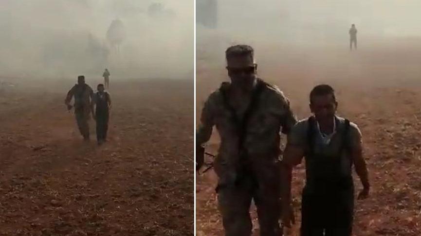 Milas'ta yangında mahsur kalan kişi helikopterle böyle kurtarıldı