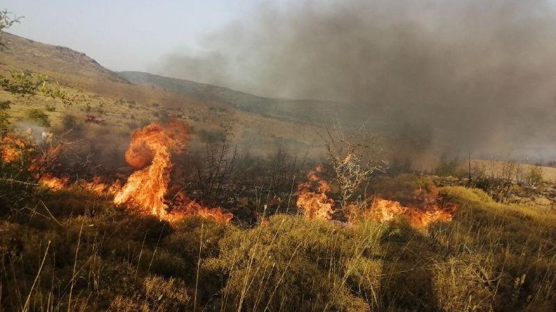 Aliağa'da makilik alanda çıkan yangını söndürme çalışmaları devam ediyor