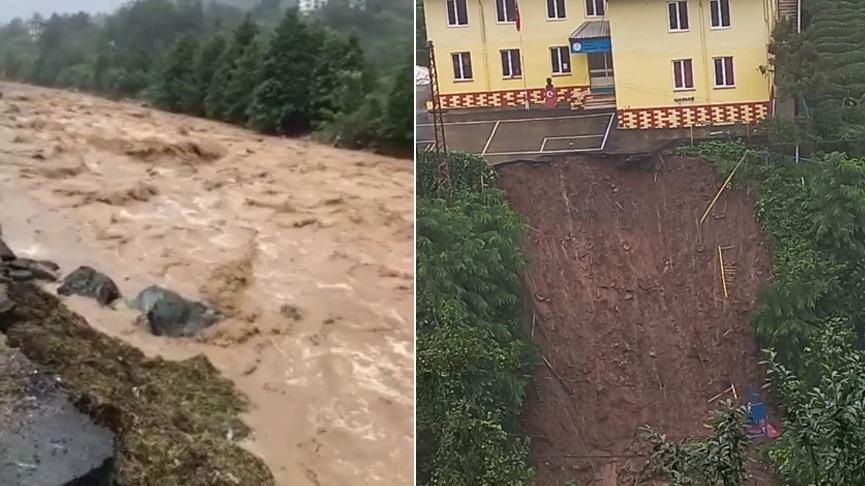 Rize'de etkili yağış ve heyelan! Mahsur kalanlar kurtarıldı