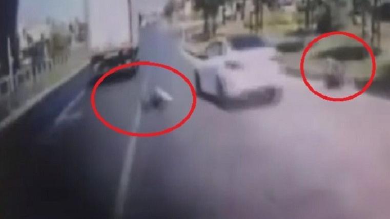 Otobüs durağına dalan ehliyetsiz sürücü 2 kişiye çarptı