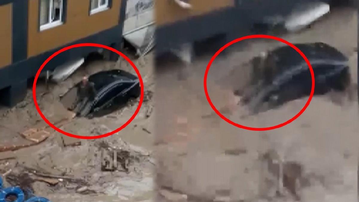 Sel felaketinden feci görüntüler! Otomobilin üzerinde sele kapılarak kayboldu