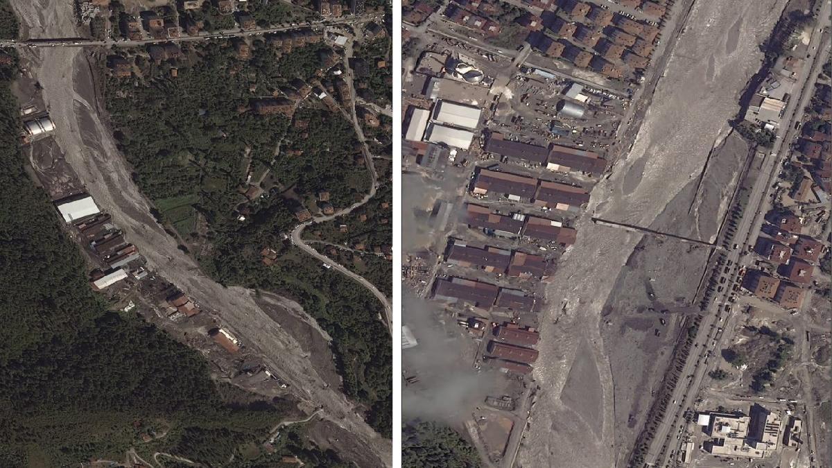 Sel felaketinin yaşandığı yerler uzaydan görüntülendi