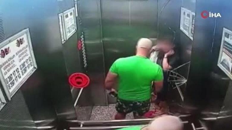 Asansörde baba dehşeti! Kızına tokat atarken aynayı patlattı