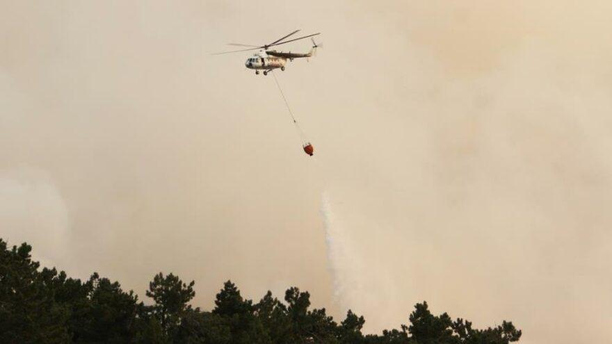 Çine'deki orman yangınına 12 helikopter ile müdahale ediliyor