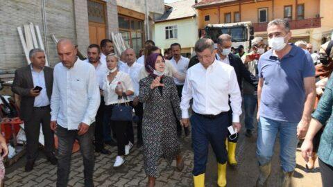 Davutoğlu, Bartın'da sel bölgesinde incelemelerde bulundu