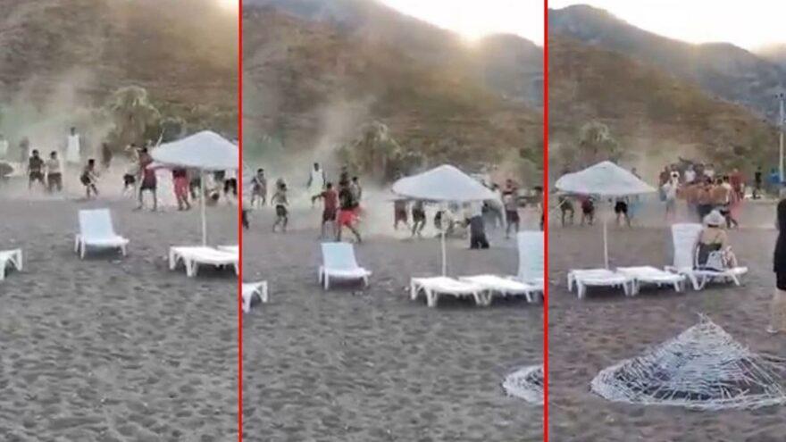 Dünyaca ünlü sahilde tekmeli sopalı kavga