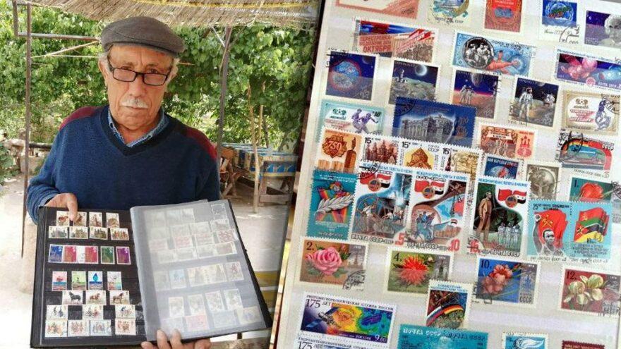 50 yıllık pul koleksiyonunu gösterdi