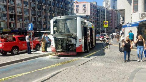 Belediye otobüsünde yangın