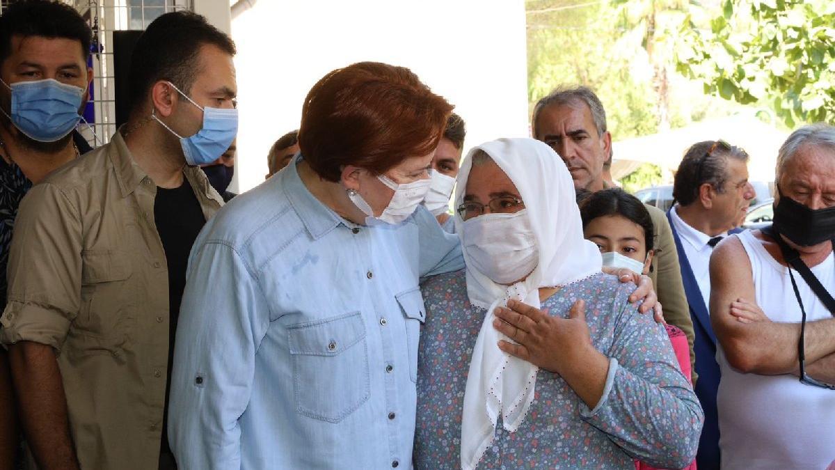 Köylü kadın, Akşener'e sarılarak ağladı: Her şeyimiz yandı