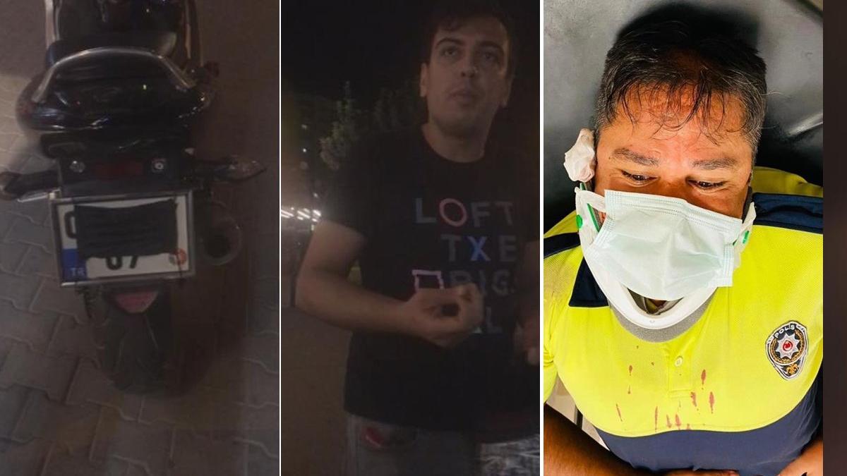 Plakasını maskeyle kapattı ceza yazmak isteyen polise kaskla vurdu
