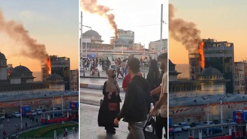 Taksim'de 13 katlı otelin cephesi alev alev yandı