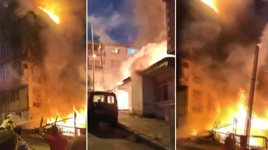 Gecekondu alev topuna döndü, yangın yan binanın çatısına sıçradı