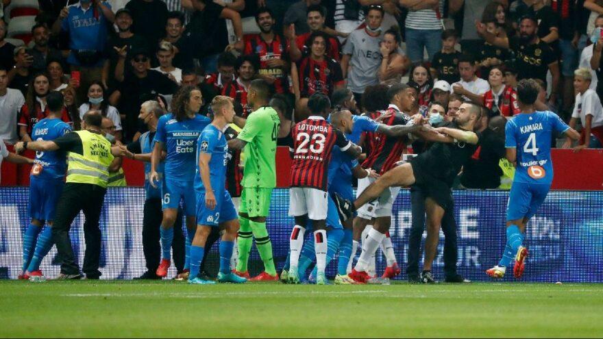 Nice-Marsilya maçı yarıda kaldı! Fransa'da ortalık karıştı