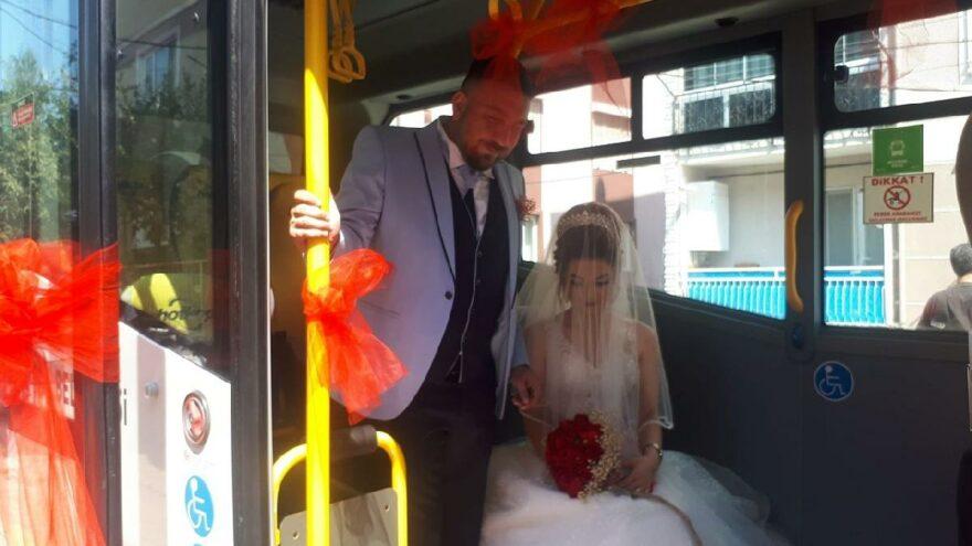 Halk otobüsü gelin arabası oldu