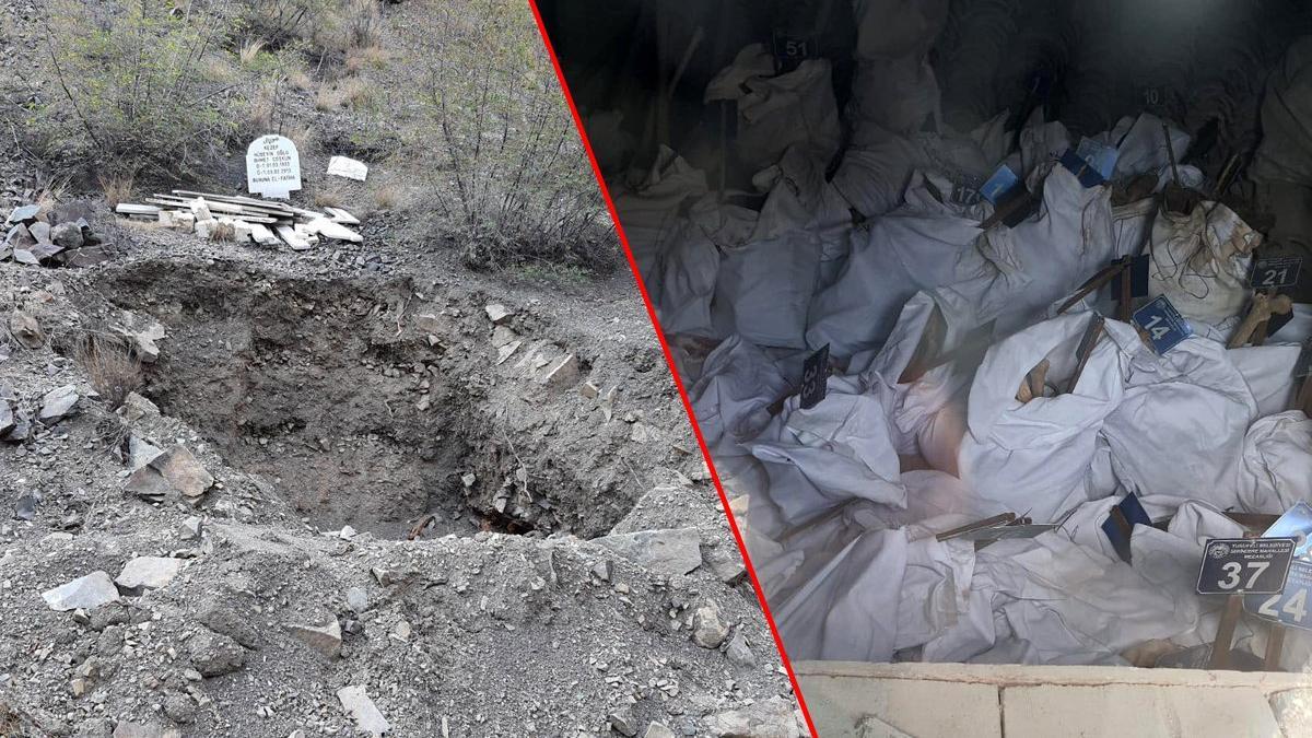 Artvin Yusufeli'nde, yeni mezarlık yeri belli olmadan mezarlar açılıp kemikler çuvala konuldu
