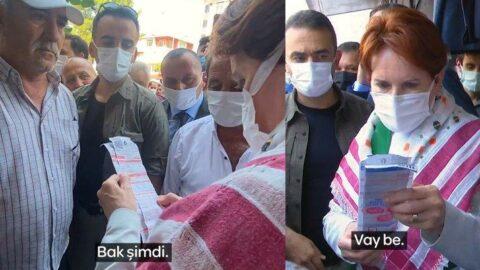 Vatandaş, Akşener'e elektrik faturasını göstererek isyan etti
