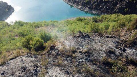 Nemrut Dağı kalderasında korkutanyangın