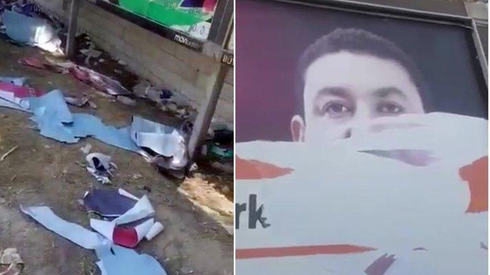 MHP'li başkanın 30 Ağustos kutlama afişlerini yırttılar