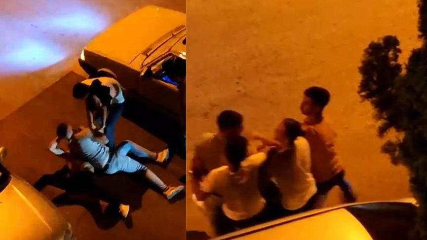 Taciz şüphelisini yere yatırıp tekme tokat dövdüler