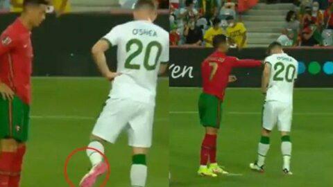 Cristiano Ronaldo'dan skandal hareket! Penaltı öncesi tokatladı...