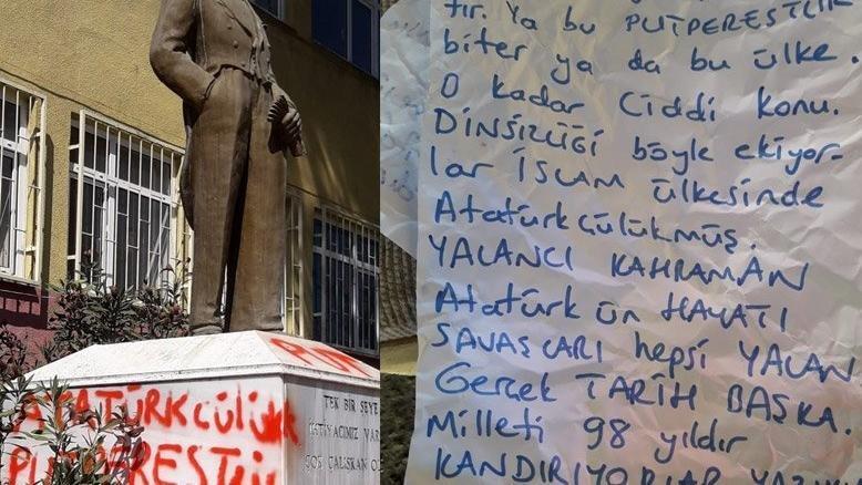 Atatürk büstüne saldırmıştı… İlk duruşmada tahliye oldu