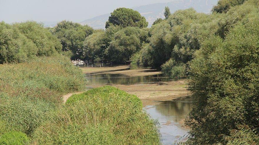 Gediz Nehri'nde kum adacıkları oluştu