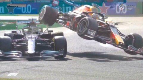 Formula 1'de inanılmaz kaza! Max Verstappen, Hamilton'un üstüne çıktı...