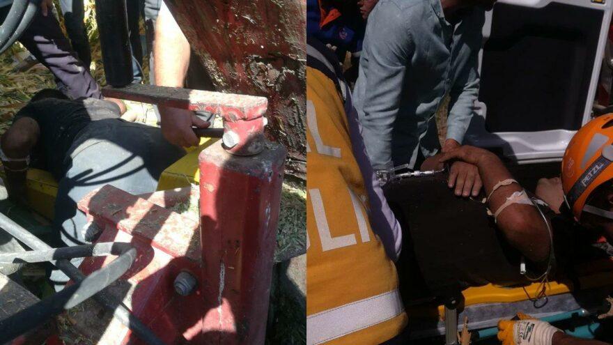Mısır silaj makinesine kaptırdığı sol bacağı parçalandı