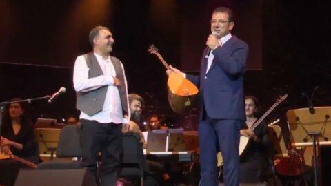 Erdal Erzincan bağlamasını İmamoğlu'na hediye etti