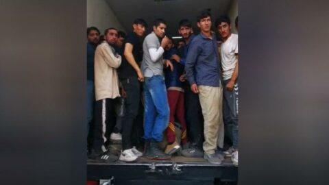 Van'da kapalı kasa kamyonda Afganistan uyruklu 158 kaçak göçmen yakalandı