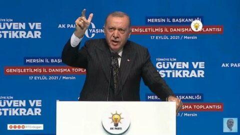 Erdoğan, Mersin'de de Rabia işareti yapmadı