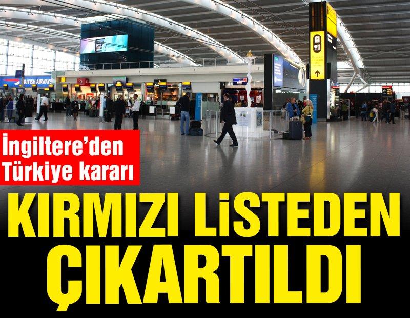İngiltere'den Türkiye kararı! Kırmızı listeden çıkartıldı