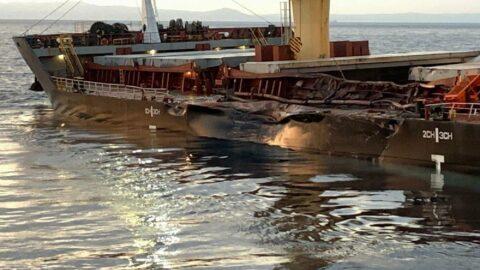 Bozcaada açıklarında iki dev gemi çarpıştı, sızıntı endişesi var