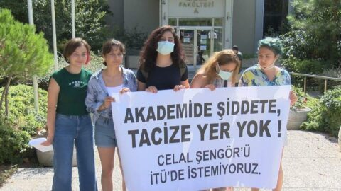 İTÜ'de Celal Şengör protestosu
