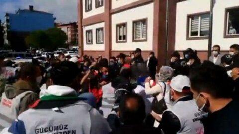İşçiler valilik önünde yaka paça gözaltına alındı