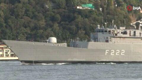 Romanya savaş gemisi İstanbul Boğazı'ndan geçti