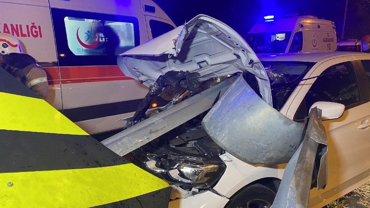TEM'de feci kaza: Bariyere ok gibi saplandı