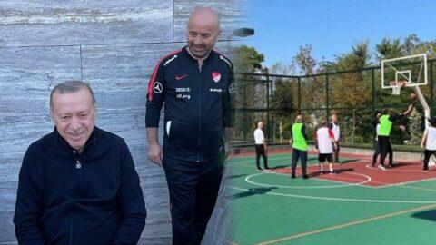 Külliye'de Erdoğan ve bakanların basketbol maçı