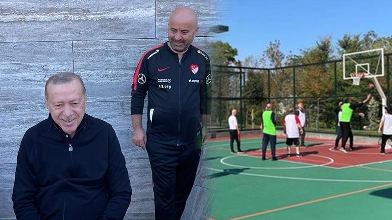 Cumhurbaşkanlığı Külliyesi'nde Erdoğan ve bakanlar basketbol maçı yaptı